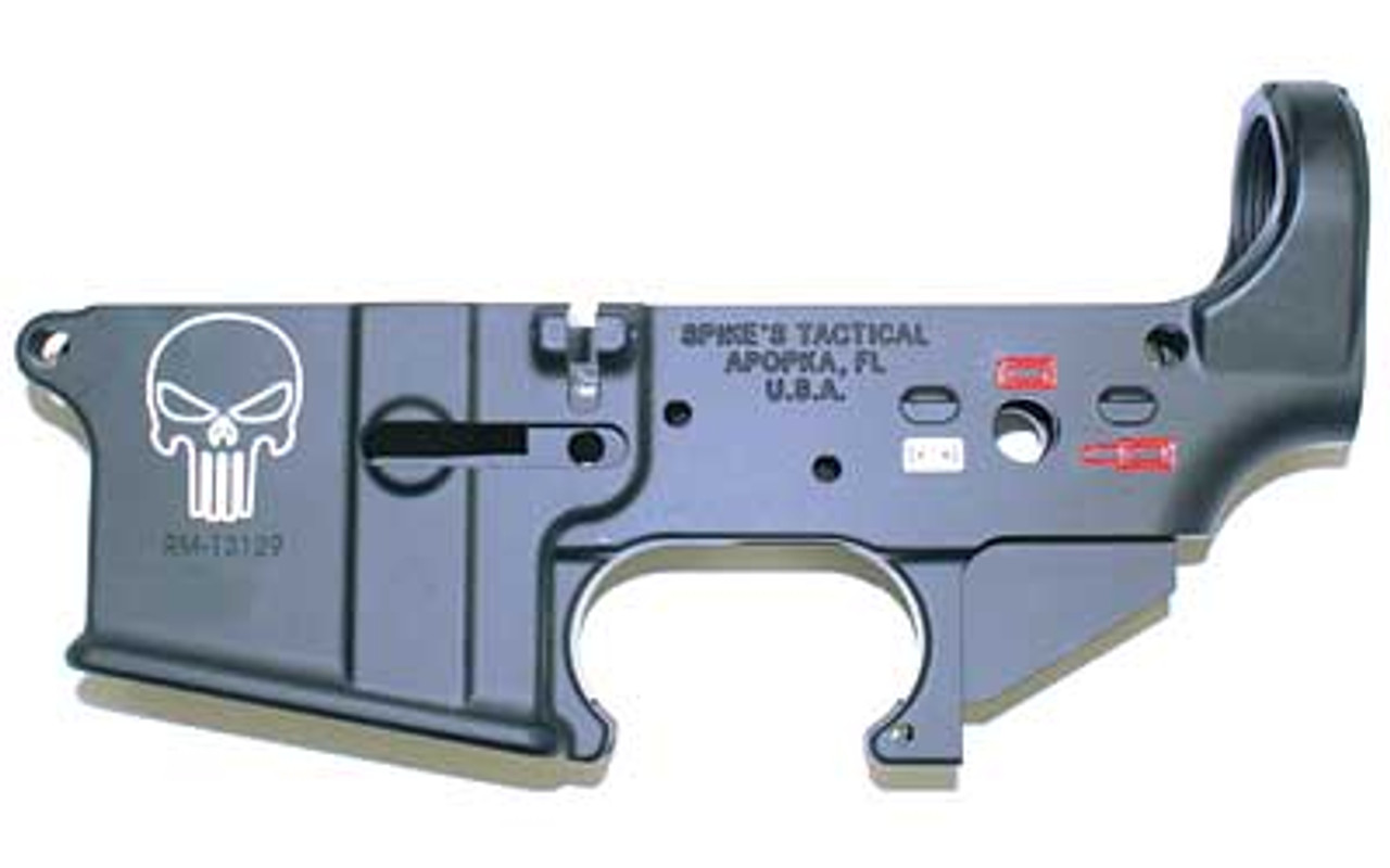 Spike's Tactical Punisher Logo Color Filled Stripped Lowers CALIFORNIA LEGAL - .223/5.56