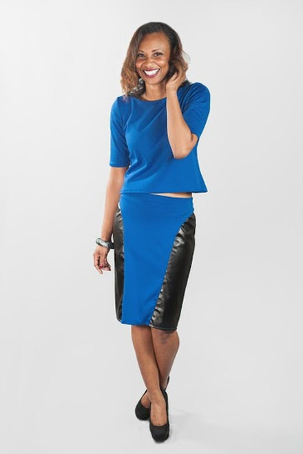 Serena Pencil Skirt {Blue/Leather}