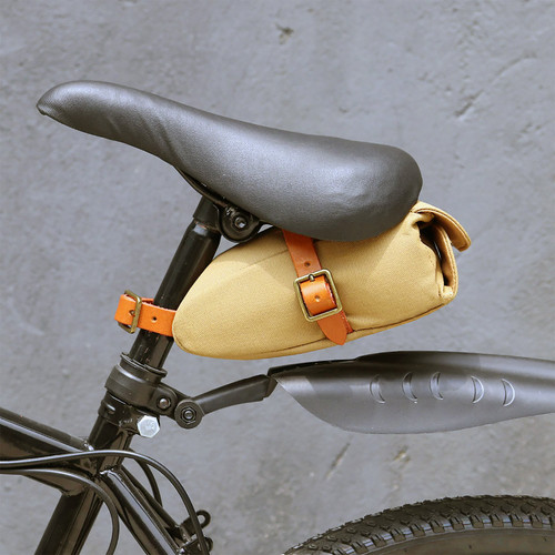 Vintage Khaki Canvas Saddle Bag