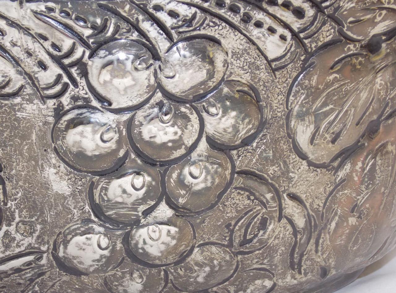 Large Brass Silver color large Fruit Basket REPOUSSE planter centerpiece Handle