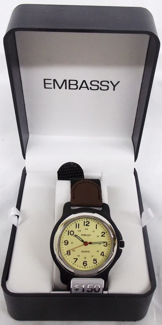Men's Watch - Brown and Black Leather with Silver Embassy