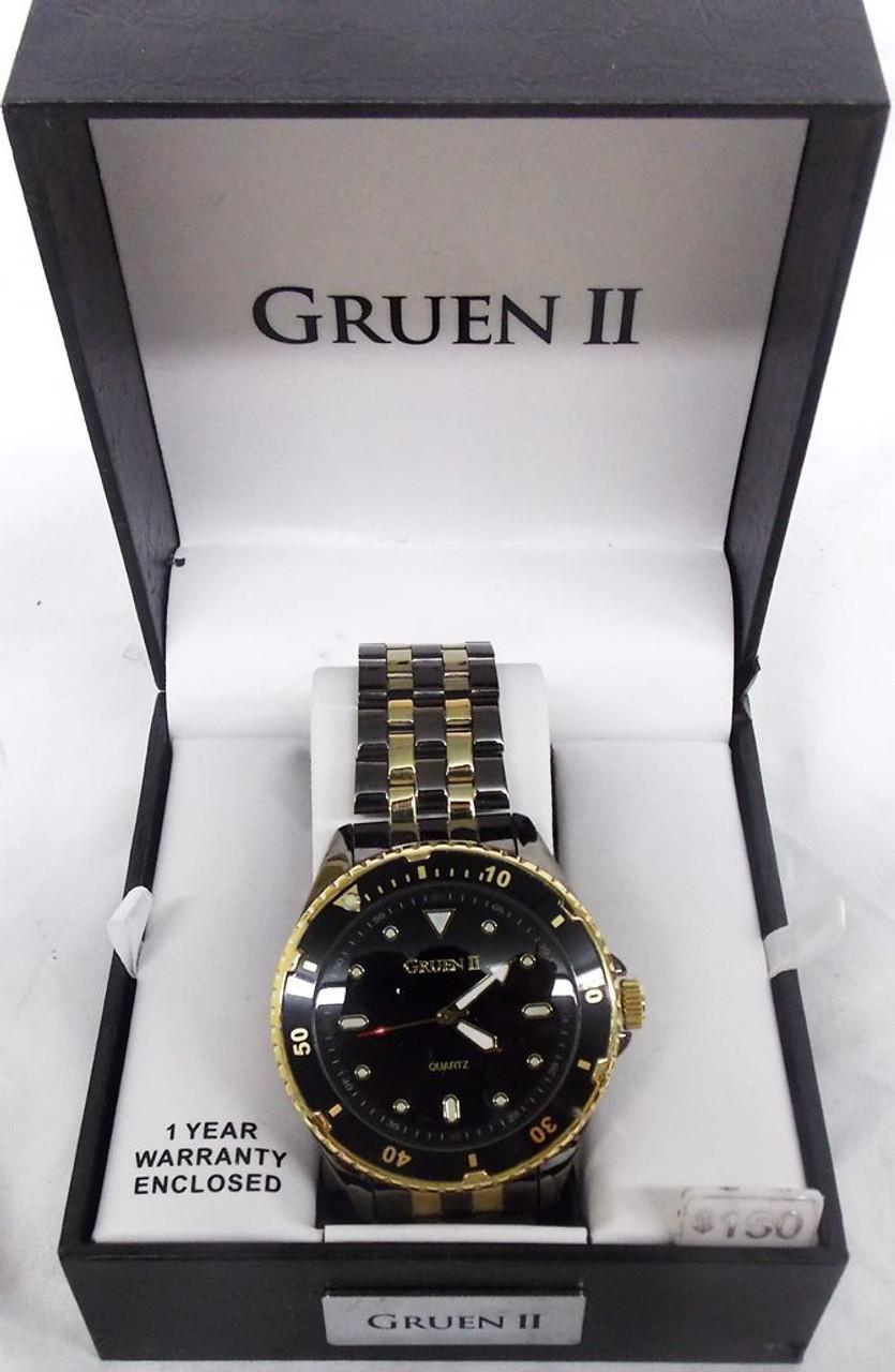 Men's Watch - Gruen II Charcoal Grey and Gold
