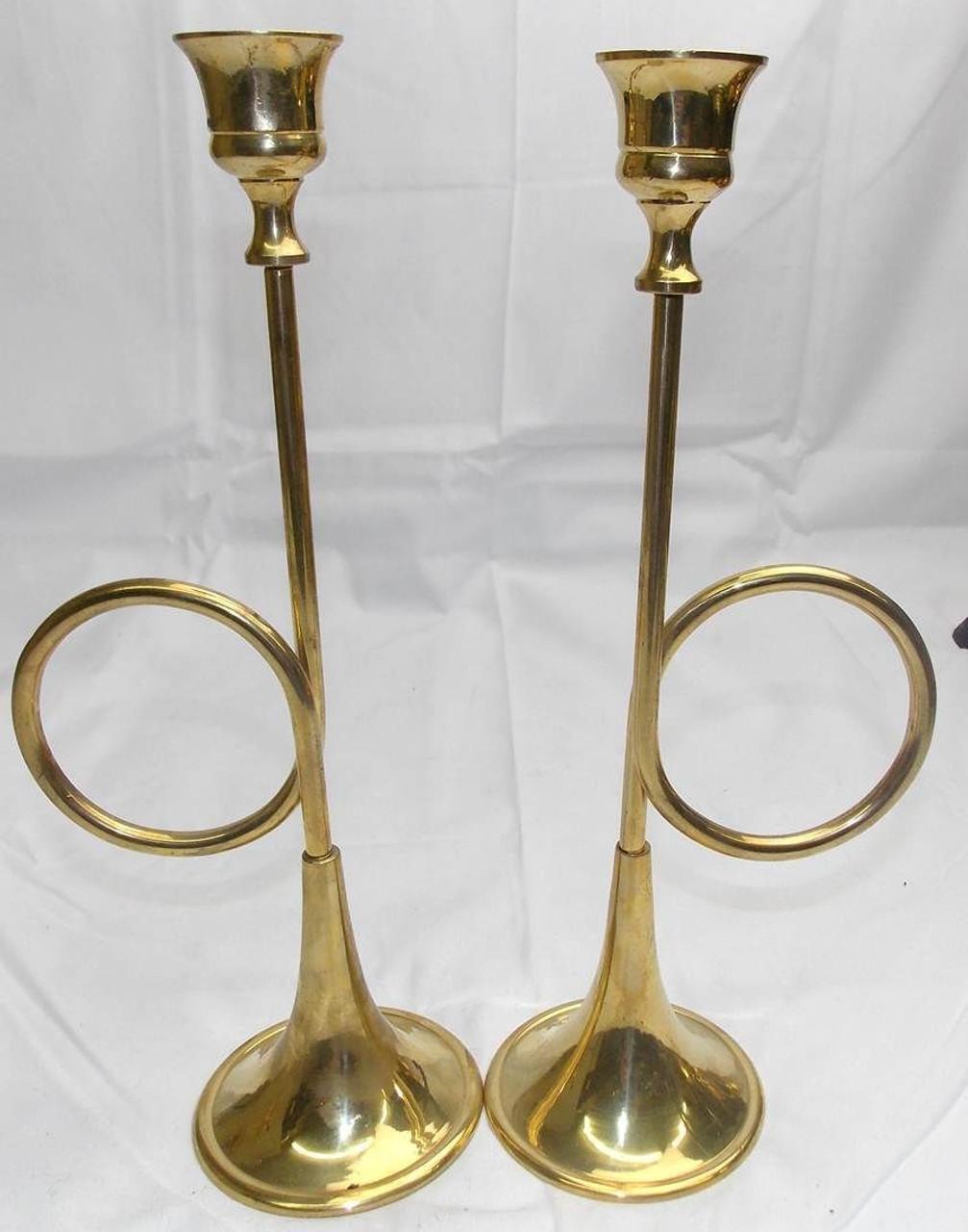 "Pair of vtg Brass Bugle Horn Candlesticks Candle holders 10"" hollywood regency"