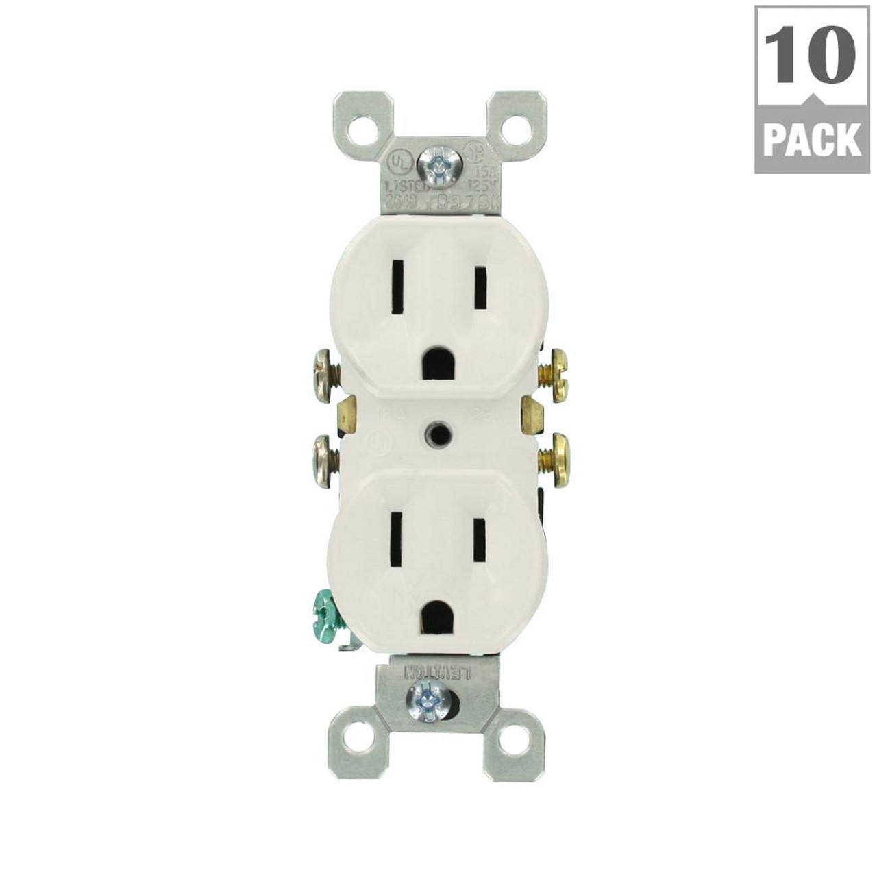 RESIDENTIAL GRADE GROUNDING DUPLEX OUTLET 15A WHITE 10-PACK | BROWN PLLET