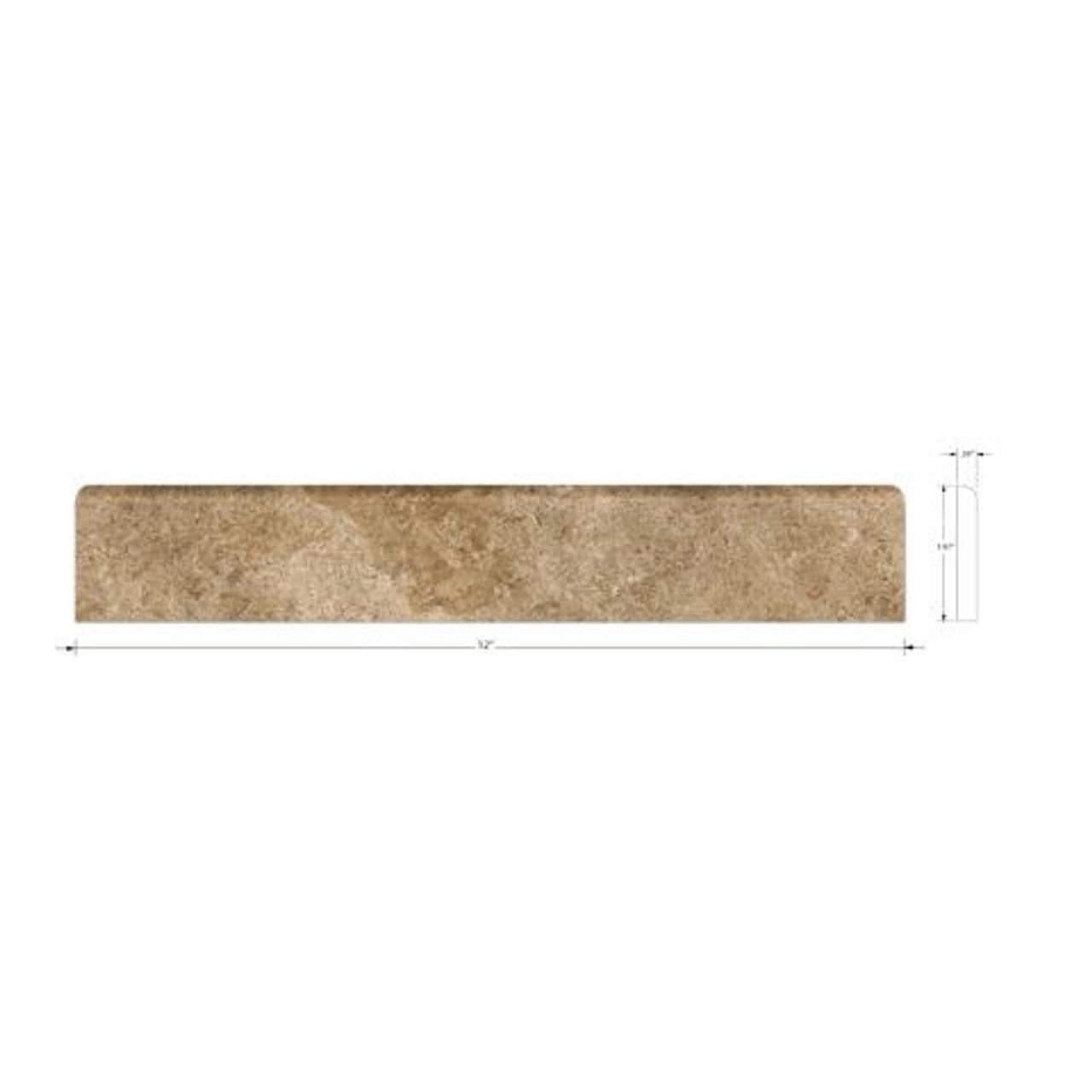 Travertine Noce Honed Bullnose | 1 x 12 | SCSLN0112
