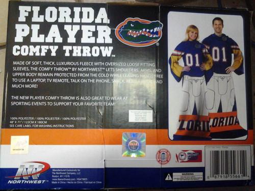 Florida University Gators Football Player Uniform Throw Snuggie Blanket SLEEVES