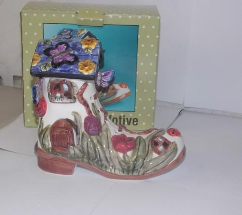 Floral Boot Votive Candle Holder
