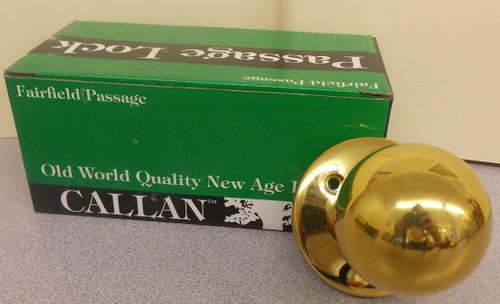 NEW Polished Brass Callan Fairfield Passage Lock Door Knob Lock Set