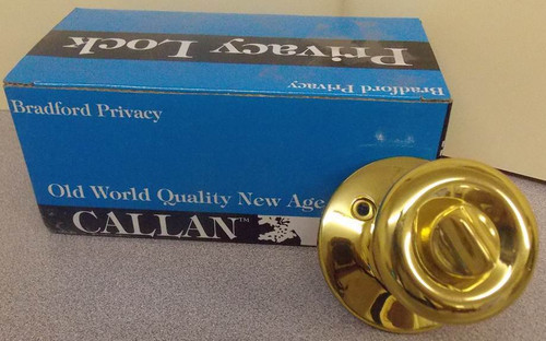 NEW Polished Brass Callan Bradford Privacy Lock Door Knob Lock Set