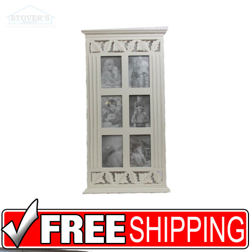 """4 +6 photo picture frame collage white wood memories decorative ideas 27""""x14 1/2"""