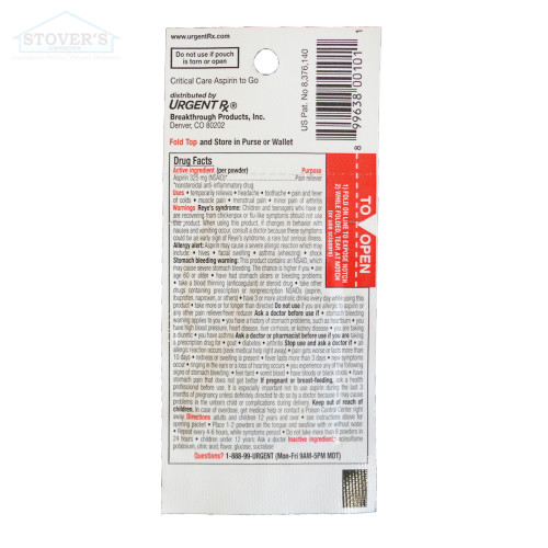 Critical Care | Asiprin To-Go | Flavored Powder Medicine | 12 pk