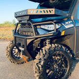 Front bumper shown with optional Ranch Armor Quick Release Hood Basket. Windshield Compatible.