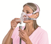 """Quattro™ FX for Her  Full Face  CPAP Mask  System fitting by ResMed  """" ©ResMed 2013 Used with Permission"""""""