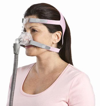 """Mirage™ FX  Nasal CPAP Mask Complete System  on a  female user   by  ResMed - 62128  """" ©ResMed 2013 Used with Permission"""""""