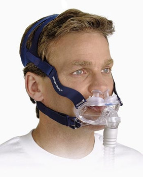 """Mirage Liberty™  Full Face CPAP Mask on a male user by ResMed  """" ©ResMed 2013 Used with Permission"""""""