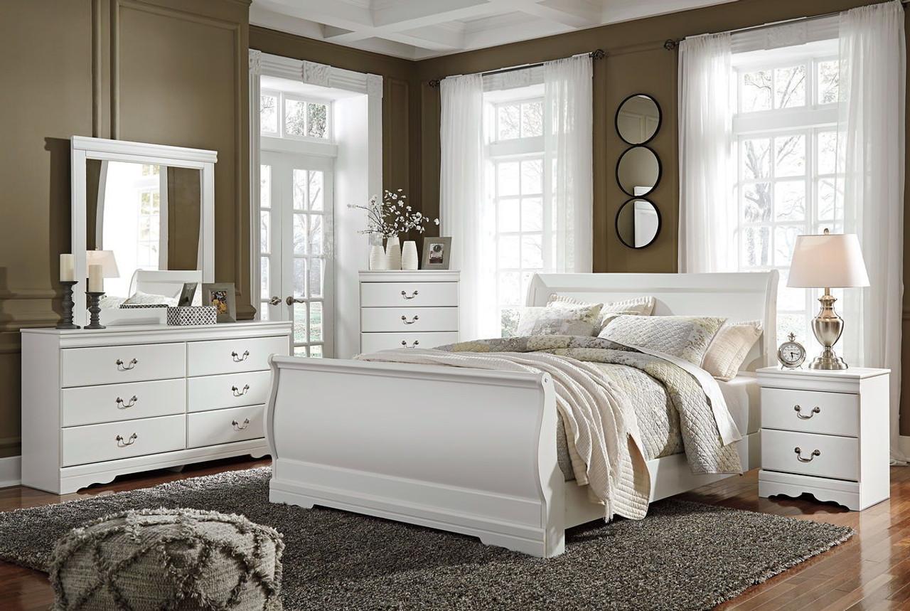 Anarasia White 6 Pc. Dresser, Mirror, Chest & Queen Sleigh Bed