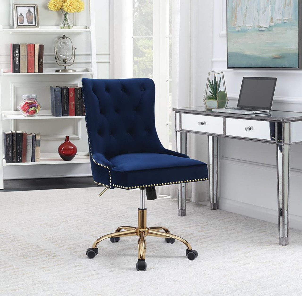 The Home Office Chairs Blue Upholstered Office Chair With Nailhead Blue And Brass 801984 Available At Jaxco Furniture Serving Jacksonville Fl And Surrounding Areas