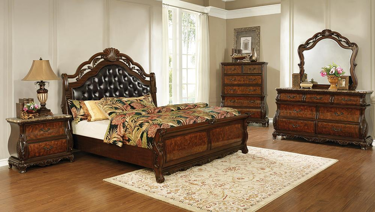 The Exeter Collection Exeter 4 Piece Eastern King Tufted Upholstered Sleigh Bedroom Set Dark Burl 222751ke S4 Available At Jaxco Furniture Serving Jacksonville Fl And Surrounding Areas
