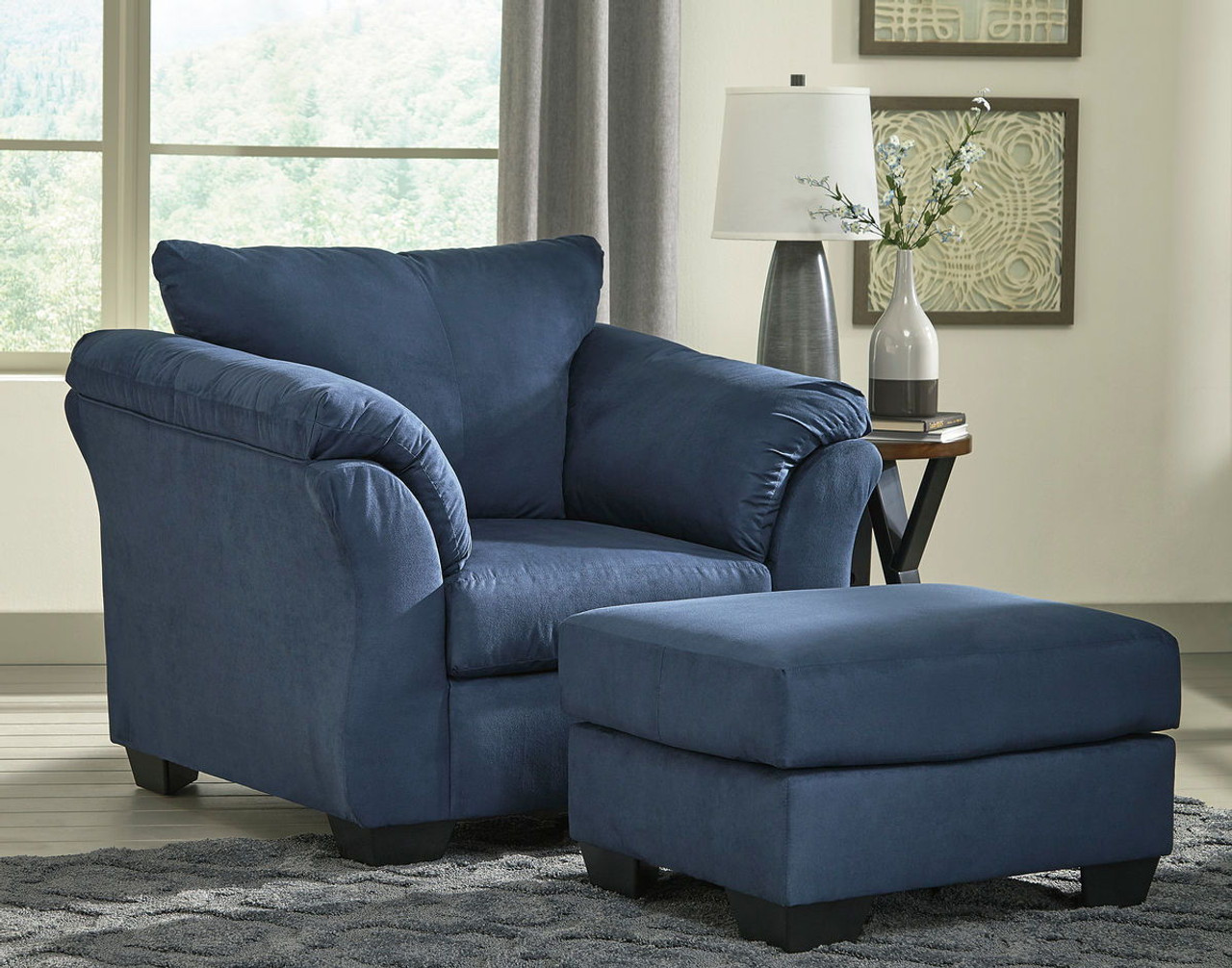 Pleasant Darcy Blue Chair With Ottoman Ibusinesslaw Wood Chair Design Ideas Ibusinesslaworg