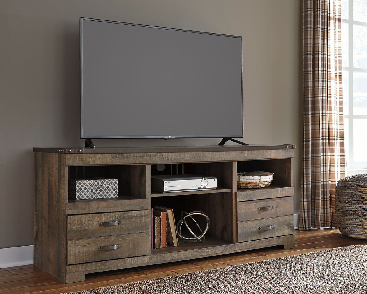 The Trinell Brown Lg Tv Stand W Fireplace Option Available At Jaxco
