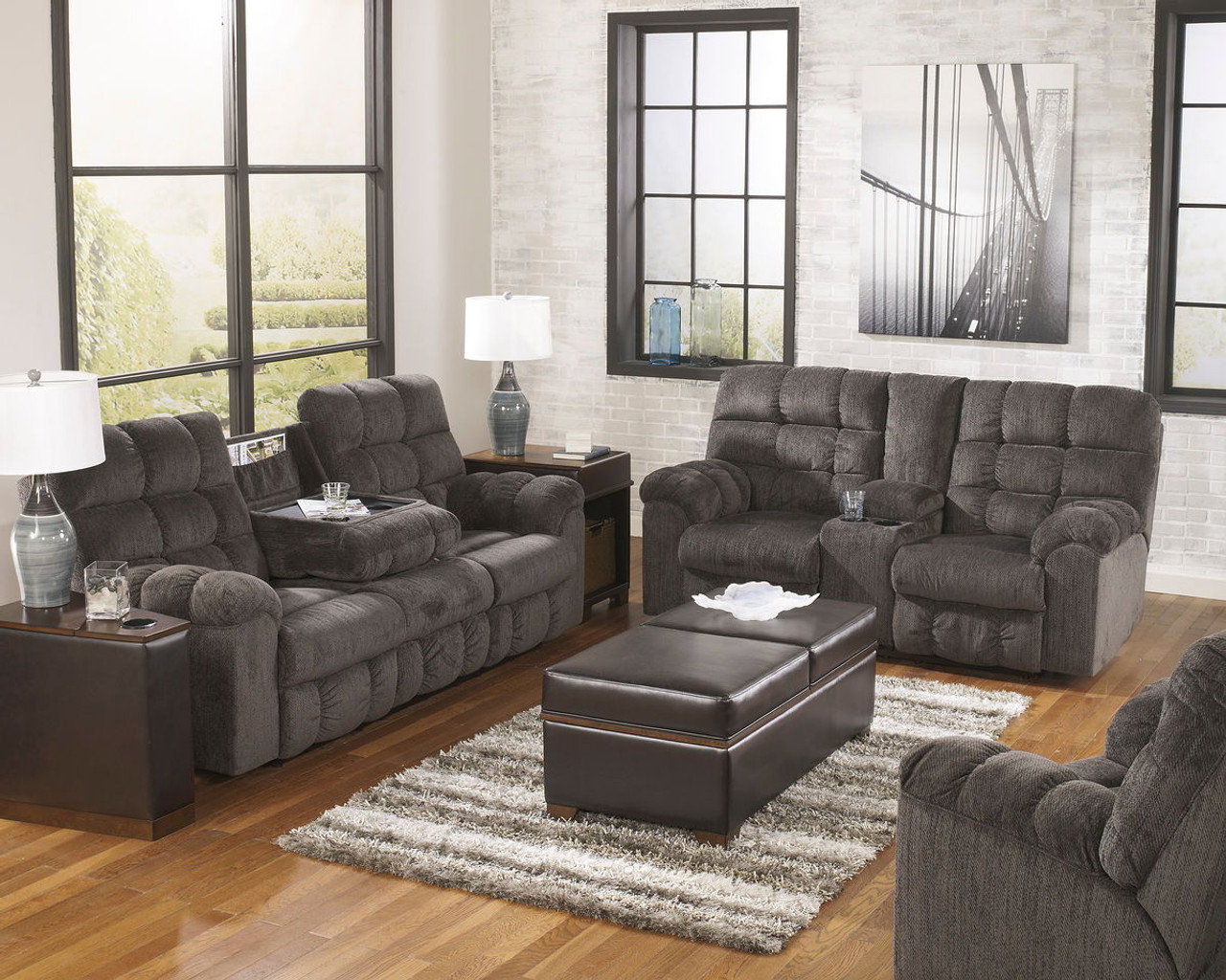Enjoyable Acieona Slate 3 Pc Reclining Sofa With Drop Down Table Double Rec Loveseat With Console Swivel Rocker Recliner Machost Co Dining Chair Design Ideas Machostcouk