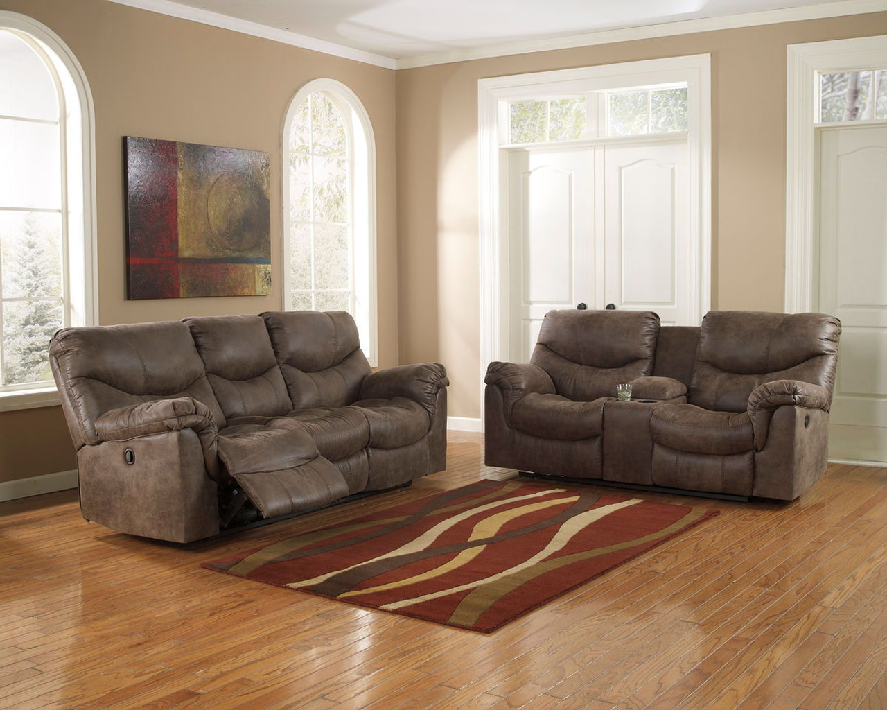 Fine Alzena Gunsmoke Reclining Sofa Double Reclining Loveseat With Console Beutiful Home Inspiration Cosmmahrainfo
