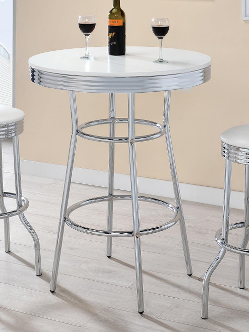 The Rec Room Bar Tables Chrome Glass Round Bar Table Chrome And Glossy White 2300 Available At Jaxco Furniture Serving Jacksonville Fl And Surrounding Areas
