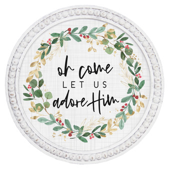 Let Us Adore Him - Beaded Round Wall Art