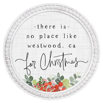 No Place Like Holly PER - Beaded Round Wall Art