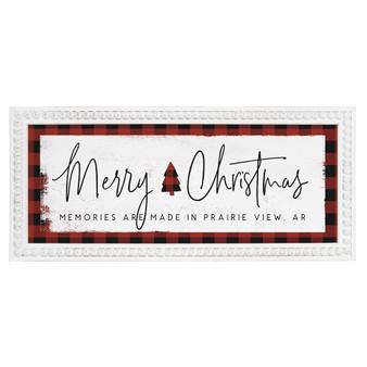 Merry Christmas Plaid PER - Beaded Art Rectangle