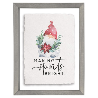 Spirits Bright Gnome - Floating Frame Art