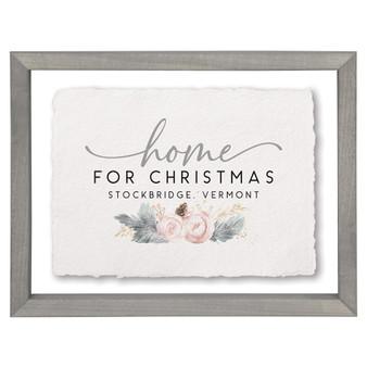Home Christmas Floral PER - Floating Frame Art