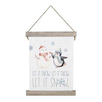 Let It Snow Penguin - Hanging Canvas