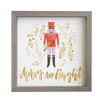 Merry And Bright Nutcracker - Rustic Frame
