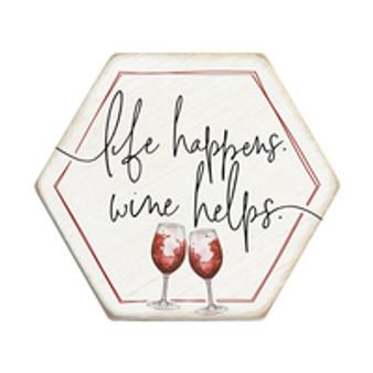Life Happens Wine Helps - Honeycomb Coasters