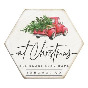 Roads Lead Home Christmas PER - Honeycomb Coasters