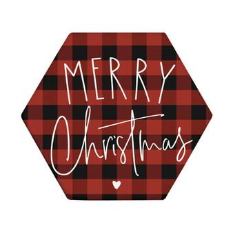 Merry Christmas Plaid - Honeycomb Coasters