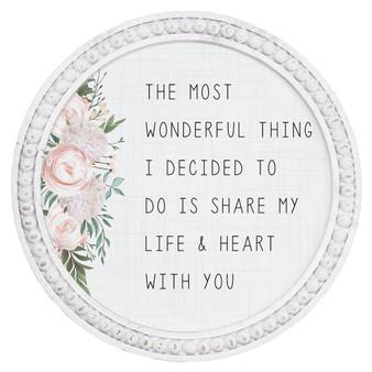 Life & Heart - Beaded Round Wall Art