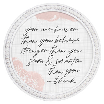 You Are Braver - Beaded Round Wall Art