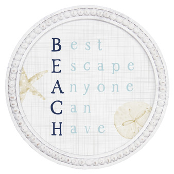 Beach Escape - Beaded Round Wall Art