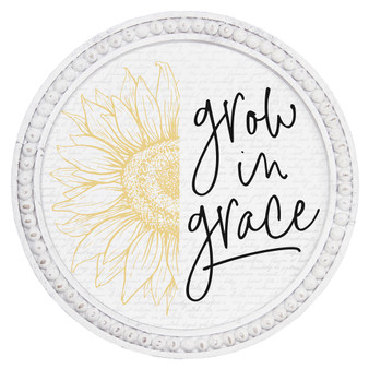 Grow In Grace - Beaded Round Wall Art