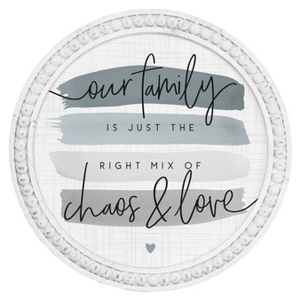 Chaos & Love - Beaded Round Wall Art