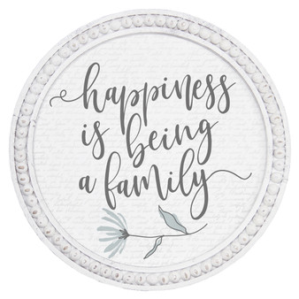 Happiness Is - Beaded Round Wall Art