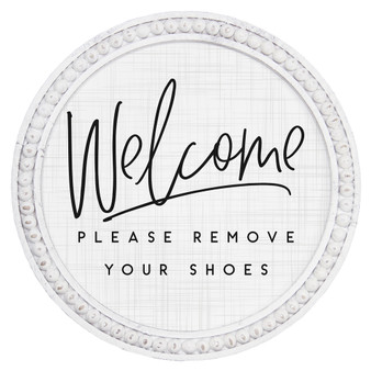 Welcome Remove Shoes - Beaded Round Wall Art