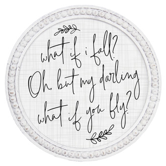 What If I Fall - Beaded Round Wall Art