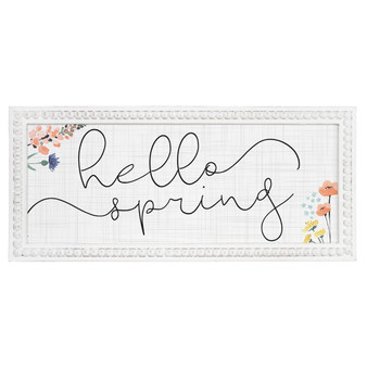 Hello Spring - Beaded Rectangle Wall Art
