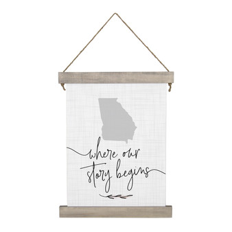 Where Our Story Begins STATE - Hanging Canvas