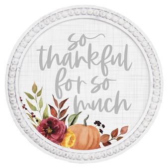 So Thankful - Beaded Round Wall Art