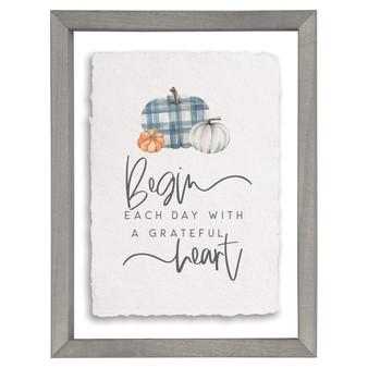 Grateful Heart Gingham - Floating Frame Art