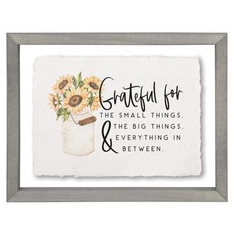Grateful For Sunflower - Floating Frame Art